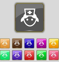 Nurse icon sign set with eleven colored buttons vector
