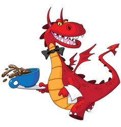 Dragon waiter with cup vector