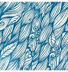 Blue hair waves doodle seamless pattern vector