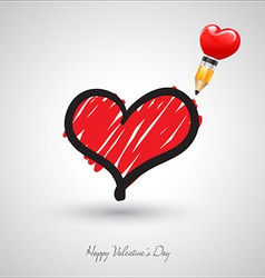 Art heart drawing with pencil vector