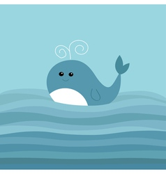 Cartoon whale in the ocean with blue waves kids vector