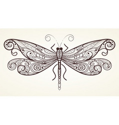 dragonfly with unique pattern vector