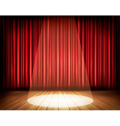 A theater stage with a red curtain and a spotlight vector