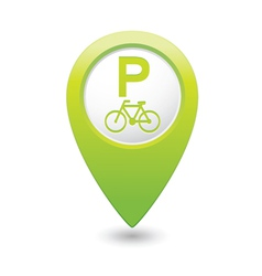 Bicycle parking icon on green pointer vector