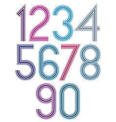 Retro stripes funky numbers set light version vector