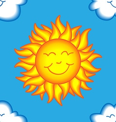 Seamless happy sun and cloud pattern vector