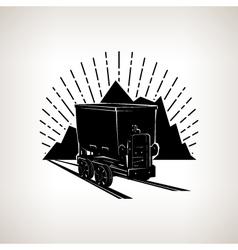 Silhouette coal mine trolley vector