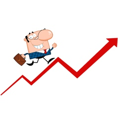 Business manager running upwards on a statistics a vector