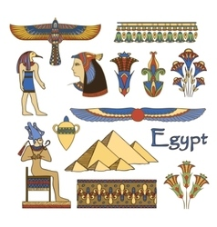 Egypt architecture and ornaments color set vector