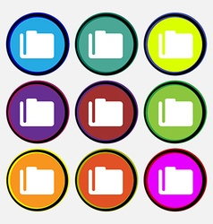 Document folder icon sign nine multi-colored round vector