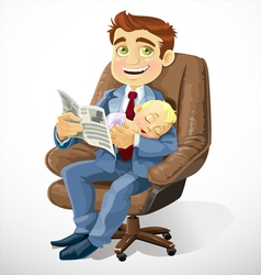 Business dad with sleep baby in an office chair vector