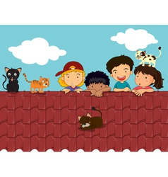 Kids on roof vector