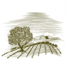 Woodcut farm scene vector