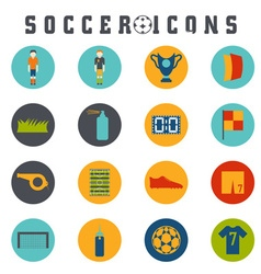 Collection of flat icons on the theme of football vector