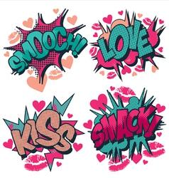 Smooch love kiss smack comic book style vector