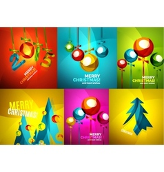 Glossy christmas cards set vector