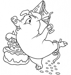 Piglet and birthday vector