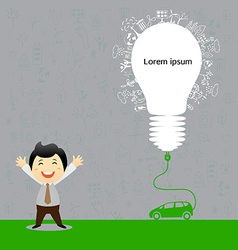 Electric car design light bulb with socket vector