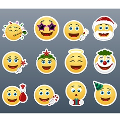 Funny holiday stickers vector