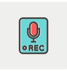 Recording station sign thin line icon vector