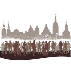 Group of people before city vector