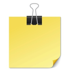 Yellow note paper with binder clip on white vector