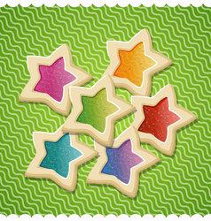 Star shaped cookies for valentines day vector