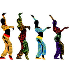 Silhouettes dancers east vector