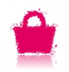 Floral shopping bag silhouette vector