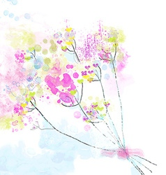 Floral watercolor abstract background for the card vector