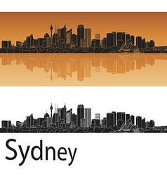 Sydney v2 skyline in orange background in editable vector