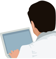 Man and laptop vector