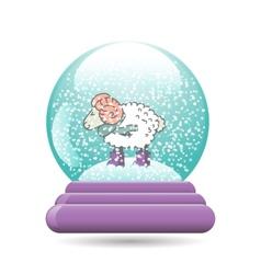Snow globe with a christmas sheep vector