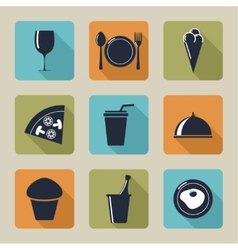 Set of icons with food and drinks vector