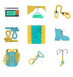 Flat icons collection of mountaineering vector