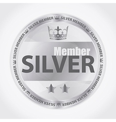 Silver member badge with royal crown and two stars vector