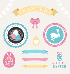 Set of happy easter design elements eggs ribbons vector