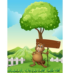 A beaver under the tree with an empty wooden board vector