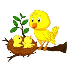 Cartoon mother and baby bird vector