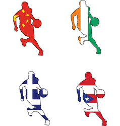 Basketball colors of china ivory coast greece puer vector