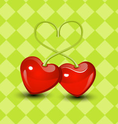 Sweet two cherry hearts valentine vector