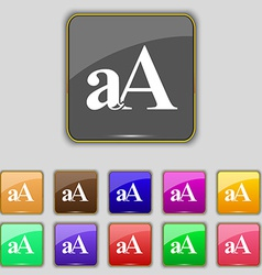 Enlarge font aa icon sign set with eleven colored vector