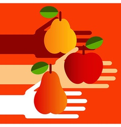 Hands with fruit vector