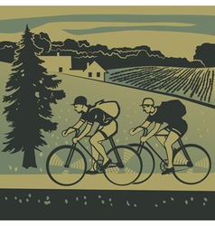 Bicyclists traveling around the country vector