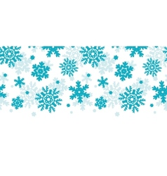 Blue frost snowflakes horizontal seamless pattern vector