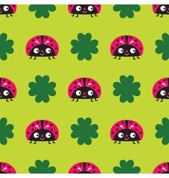 Seamless ladybugs pattern vector