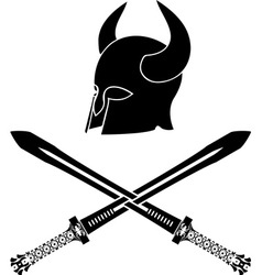 Fantasy barbarian helmet with swords stencil vector