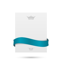 White card with blue ribbon and crown for your vector