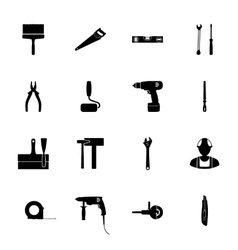 Building silhouettes icons set vector