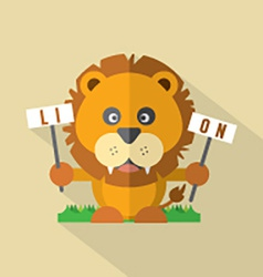 Modern flat design lion icon vector